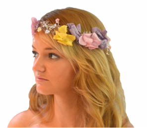 Boho Flower Crown with Hand Tooled Yellow, Pink, Purple Silk Flowers and  matching Crystals